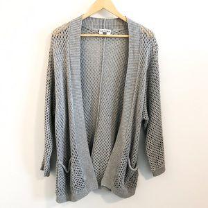 Gray open knit cardigan